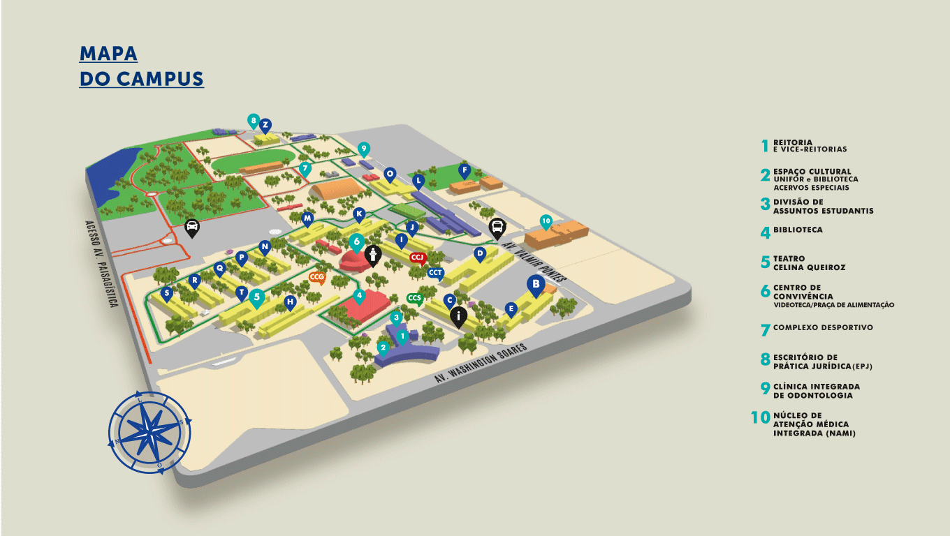 mapa do campus Unifor